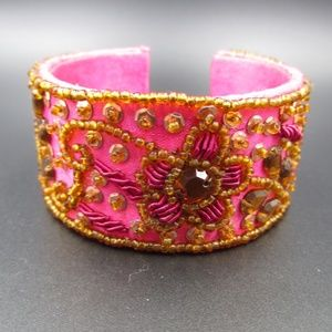Jewelry - Vintage Pink Handmade Floral Beaded Cuff Bracelet
